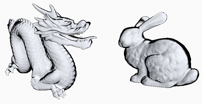 Silhouette Outlining on a Dragon and Bunny Model