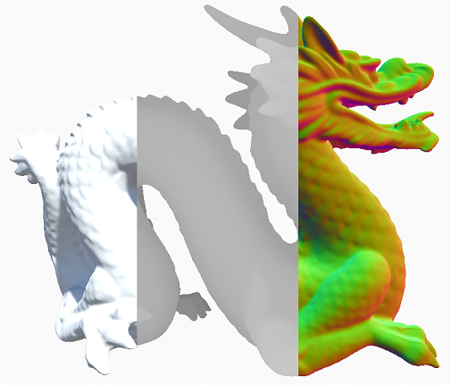 From left to right: the scene render target, depth buffer, and surface normals.